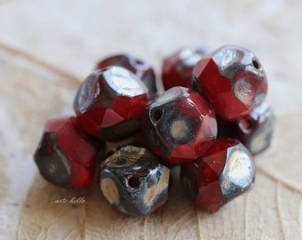10% off VAMP NUGGETS .. 10 Czech Picasso Glass Central Cut Beads 8mm (5188-10)