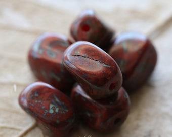 10% off TWISTED REDS .. 6 Picasso Glass Czech Twist Beads 12x10mm (5134-6)