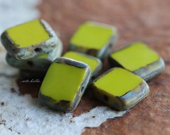 10% off CHARTREUSE SLICE .. 10 Premium Picasso Czech Glass Rectangle Beads 8x10mm (4959-10)