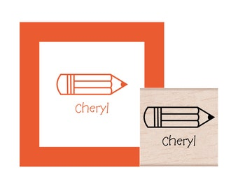 School Pencil Personalized Rubber Stamp