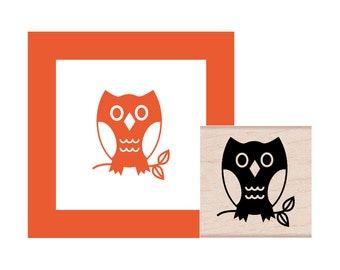 Owl on a branch Rubber Stamp
