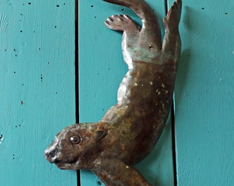 Sea Otter - copper marine mammal sculpture  - with blue-green  and naturally-aged patinas - OOAK