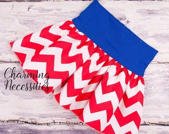 Baby Girl Clothes, Toddler Girl Clothes, 4th of July Patritic Yoga Waist Twirl Skirt in Red Chevron by Charming Necessities