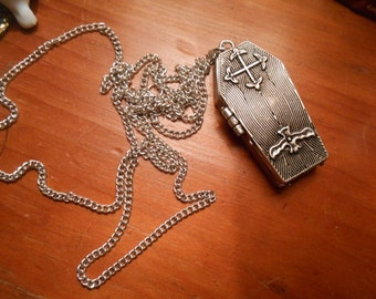 COFFIN  Locket Necklace >Antiqued Pewter> morbid-Pills-VINTAGE Death