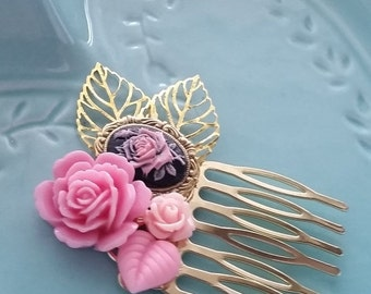ON SALE Bubblegum Pink Rose Small Cluster Hair Comb - Fascinator Kitschy Cool Offbeat Wedding Bride Rose Bird