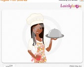 SALE Chef cooking woman, food service, serving digital PNG clipart (Hallie 601)
