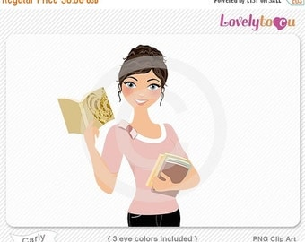 SALE Woman reading book, holding books, character clipart digital PNG clip art (Carly 633)