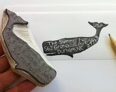 whale address stamp, hand carved return address stamp, housewarming gift, wedding present, unmounted address stamp