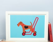 Welsh Terrier on Wheels Print, Airedale on Wheels, Terrier on Wheels, Rideon Dog, Dog Art, Dog Poster, Dog Illustration
