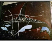 Bull Orca original painting, signed and dated 10 inches (24.5cm) x 6.75 inches (17cm