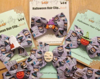 Halloween Hair Clip Bow- 6 designs to choose from- FREE SHIPPING