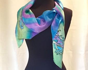 SALE! Peacock Aura - Hand Painted Silk Poncho One of a Kind Designer Original End of Season Half off Sale