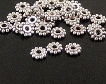 Bead Spacer 100 Antique Silver Flower Daisy 6.5mm NF (1020spa06s1)xz