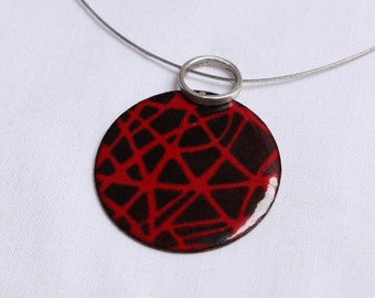 Enamel Pendant - Enamel Necklace - Red, Black Enamel Necklace - copper Enamel Pendant - Sterling Enamel Drawnwork Pendant