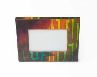 Striped 5x7 Frame - Table Top Easel - Striped Batik - Abstract - Handmade Paper - Wedding Gift - Easel Frame - Wood Frame - Bold Colors