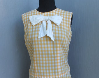 Vintage 60s/70s Yellow and White Gingham Day Dress, School Dress, Sweet Front Bow Dress, Secretary Dress, Metal Zipper