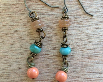 E481 Coral and Turquoise Earrings