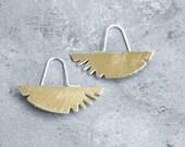 Tribal Brass Half Moons - handmade solid brass, silver, dangle, 80s, geometric, gipsy earrings, made in Italy