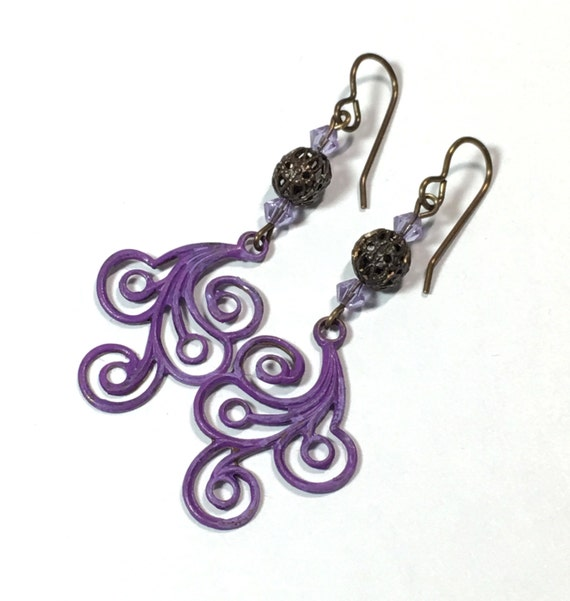 Painted Purple Swirl earrings with Filigree and Crystal accents