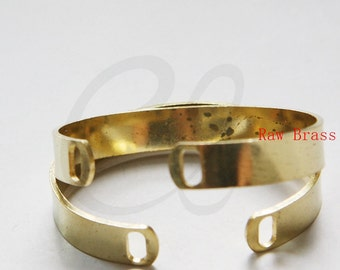 2 Pieces of Raw Brass Cuff Bracelets - Bangle 60x50mm (3289C-N-337)