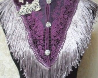 BIG Fall Sale 35% Off COLLAR Victorian Fringe Whimsical Shawl Satement Necklace Rhinestones Purple