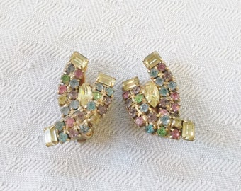 1950s Vintage Pastel Rhinestone Clip On Earrings