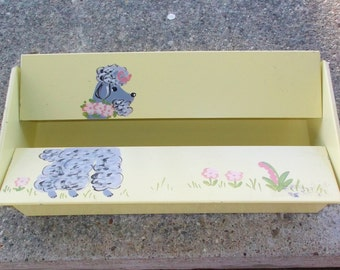 1950s Vintage Yellow Metal Kleenex Tissue Holder with Poodle