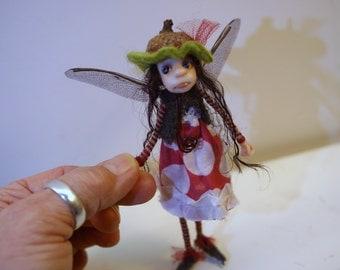 ooak poseable THREAD PIXIE FAIRY w/ acorn hat ( #7 ) pixie elf polymer clay art doll by DinkyDarlings