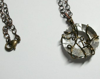 Entangled Mind Fold Form Silver Necklace