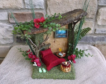 Fairy house with tea light firepit