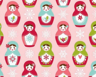 Three (3) Yards - Riley Blake Merry Matryoshka Main Pink Cotton Fabric C4380-Pink