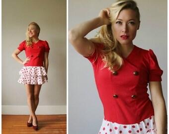 ON SALE 1980s Nautical Dot Dress~Womens Size Extra Small~Girls Size 10/12