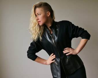 1980s Peplum Leather Dress or Jacket~Size Extra Small to Small