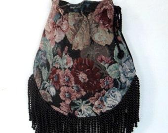 Floral Fringed Tapestry Gypsy Bag Black Cross Body Bag Bohemian  Indie bag renaissance bag Victorian Floral Bag