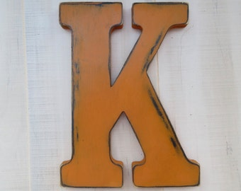 rustic  wood letter k distressed shabby chic nursery or wedding decor chalk paint choice of colors