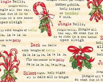 FABRIC Holly Jolly 5  CHRISTMAS CAROLS Holiday Songs 1/2 yard