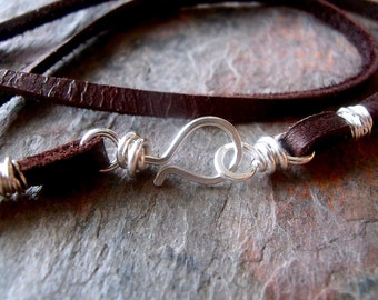 Sterling Silver Leather Cord Necklace with Handmade Sterling Silver Clasp