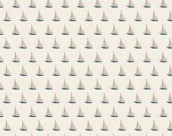 Sailboat Fabric ~ Offshore by Deena Rutter ~ Beach Themed Fabric ~ Woven Cotton by the Yard