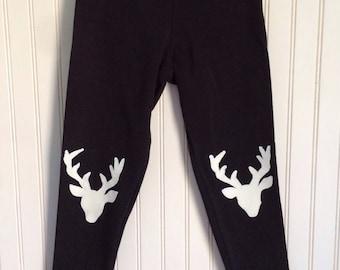 Deer Leggings. Deer Tights. Buck Leggings. Girls Deer Tights. Knee Patch Leggings.  Woodland Style Leggings. Reindeer Leggings.