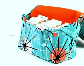 Coupon Organizer Mega Large Atomic in Turquoise with Orange lining