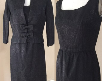 Vintage Black 50's Wiggle Dress and Coat. Cocktail Party. Pin Up. Marylin Monroe