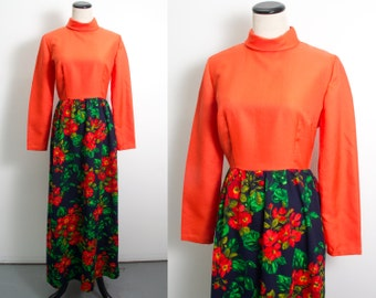VTG 60's Poppies Print Maxi Dress (medium / large) Bohemian Hippie Long Skirt Long Sleeves Floral Navy Red Orange High Neck