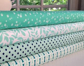 Mint Green and Navy Blue Bundle, 4 Half Yards, Premium Cotton - 2 yards total