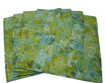 Quilted Placemats in Shades of Green and Teal Batik