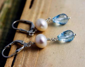 Pearl Earrings, Drop Earrings, June Birthstone, Dangle Earrings, Topaz Earrings, Sterling Silver, PoleStar, Sky Blue, December Birthstone