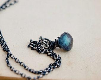 Labradorite Necklace, Labradorite Pendant, Blue Labradorite, Sterling Silver, PoleStar Jewelry, Labradorite Gemstone, Gemstone Jewelry