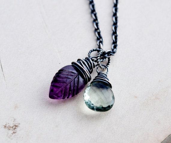 Gemstone Necklace, Leaf Necklace, Fluorite Necklace, Green Amethyst Necklace, Mint Green, Sterling Silver, Gemstone Pendant, PoleStar