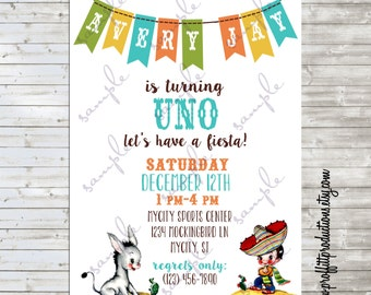 Vintage Fiesta birthday party invitation in Mexican colors - digital file