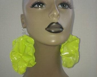 Uniquely Wacky Shape Plastic Lime Green Large Earrings, Big Earrings, Womens Earrings, Handmade Earrings, Jewelry, Dimensionalvision
