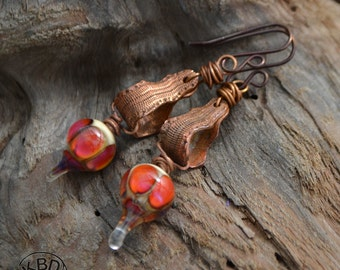 Snakeskin Drops, Copper and Lampwork Earrings